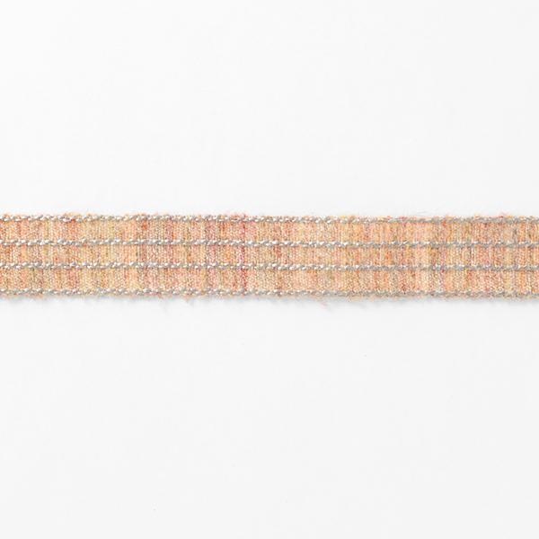 Ruban tissé Rayures Chiné [27 mm] – terre cuite/argent