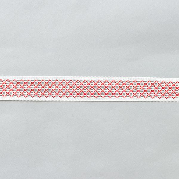 Ruban tissé Mesh [24 mm] – blanc/rouge