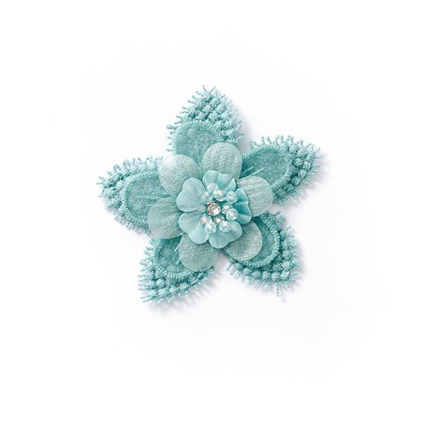 Application Fleur à perles [80 mm] – turquoise