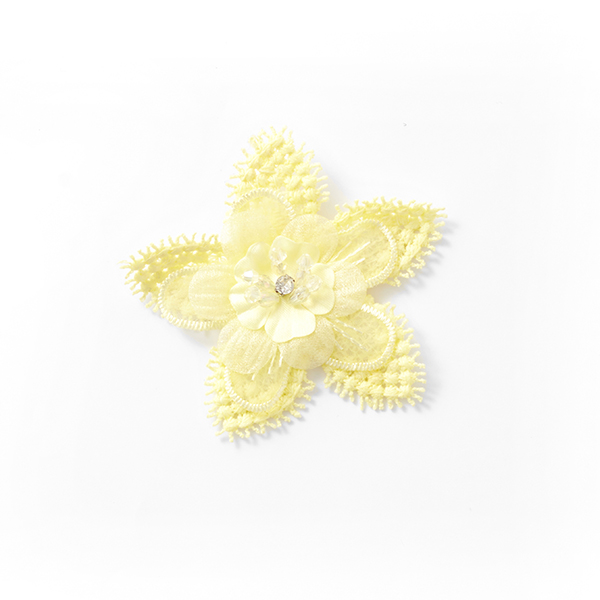Application Fleur à perles [80 mm] – jaune
