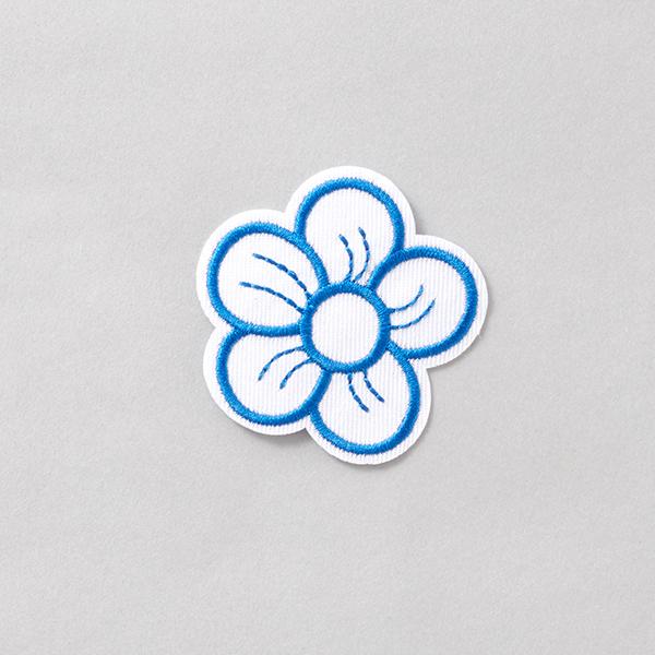 Application Fleur [55 mm] – blanc/bleu