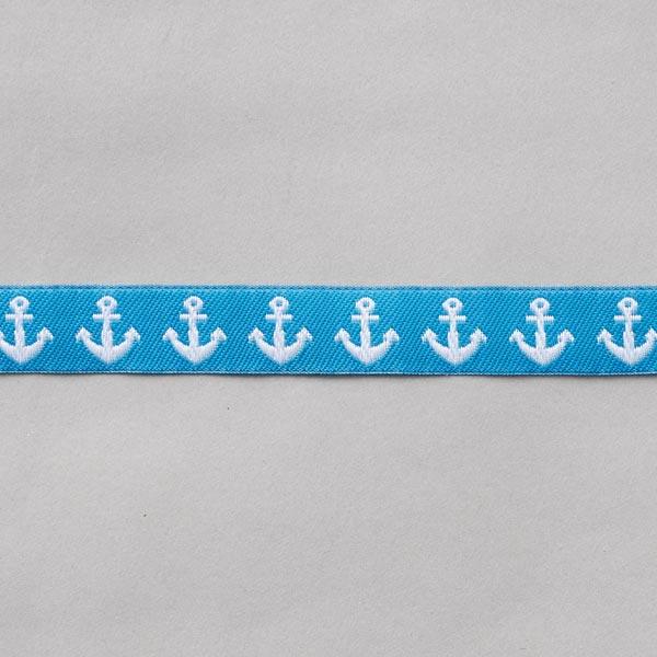 Ruban décoratif Ancre [16 mm] – bleu/blanc