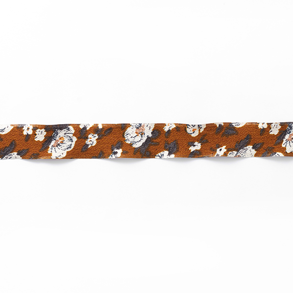 Blumenband [25 mm] – karamell/weiss