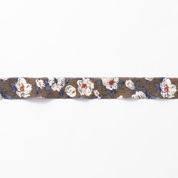 Blumenband [25 mm] – grau/weiss