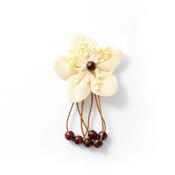 Application Fleur en tissu avec perles en bois – jaune clair/marron