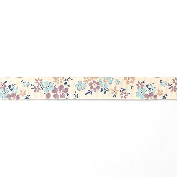 Ruban de reps Pré fleuri [25 mm] – crème