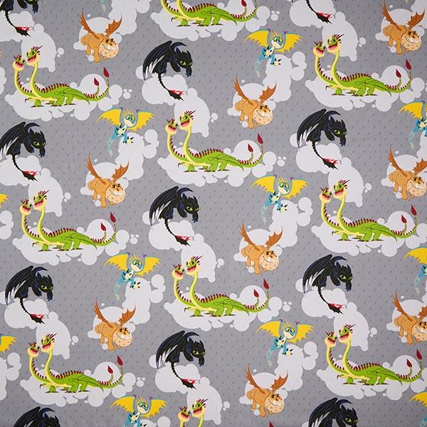 Tissu de décoration Cretonne Dompter le dragon | DreamWorks – gris