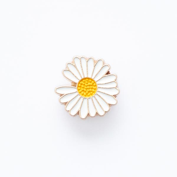 Ösenknopf Gänseblümchen  – weiss/gelb