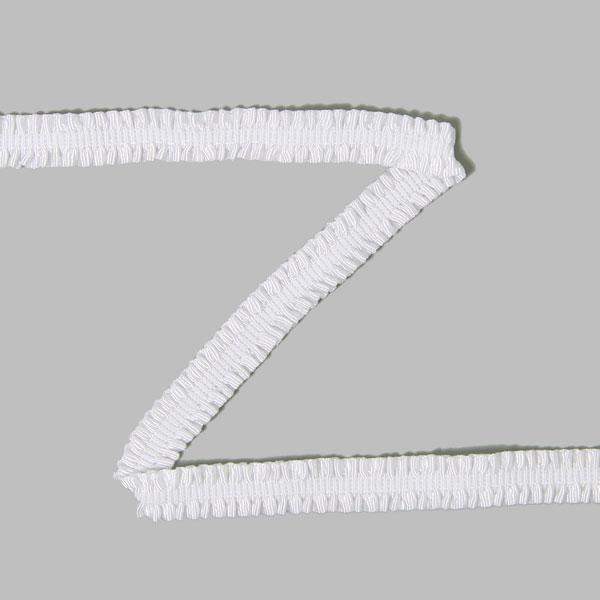 Dentelle ruchée élastique  - blanc