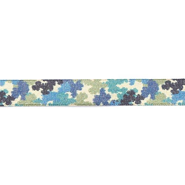Satinband Camouflage [ 15 mm ] – beige/blau