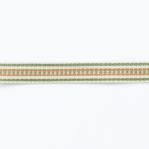 Webband Ethno [ 15 mm ] – wollweiss/grün
