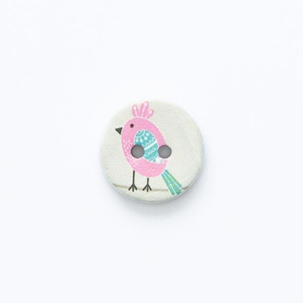 Bouton motif oiseau 2trous [ Ø 15 mm ] – écru/rose