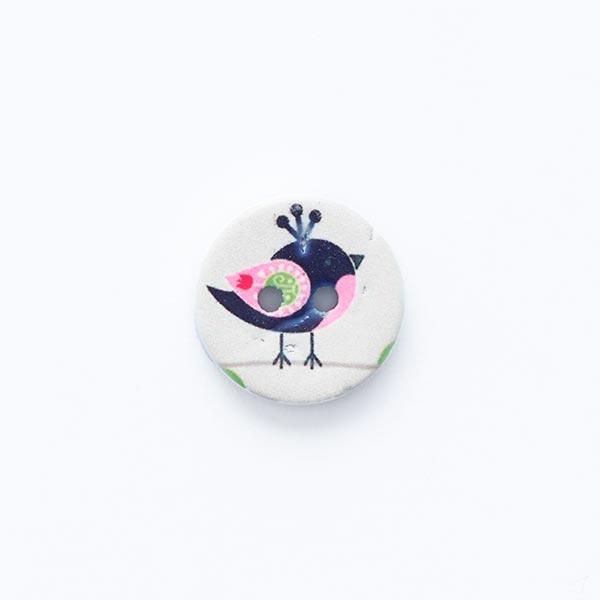 Bouton motif oiseau 2trous [ Ø 15 mm ] – écru/noir