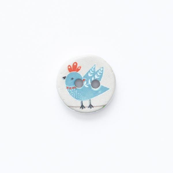 Bouton motif oiseau 2trous [ Ø 15 mm ] – écru/bleu pigeon
