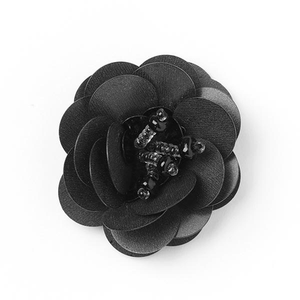Application Fleur paillettes - noir