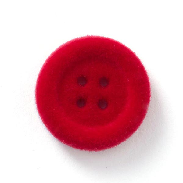 Bouton en velours 4 trous – rouge vif