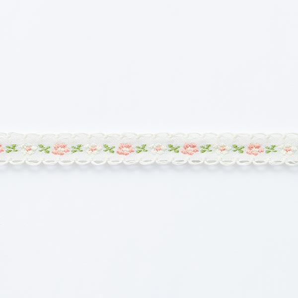 Ruban tissé Flower [ 12 mm ] – écru/vert herbe