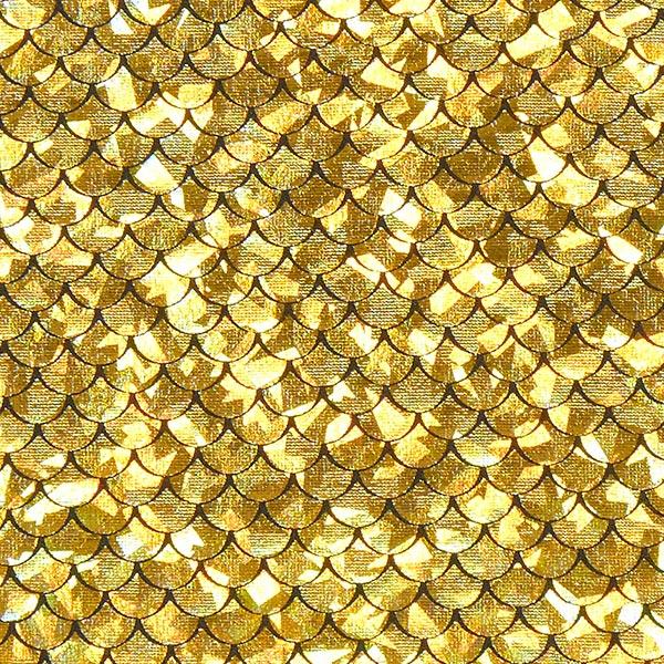 Stoff mit Schuppen in Gold
