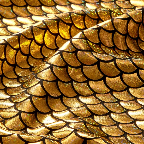 Folienjersey mit Schuppen in Gold