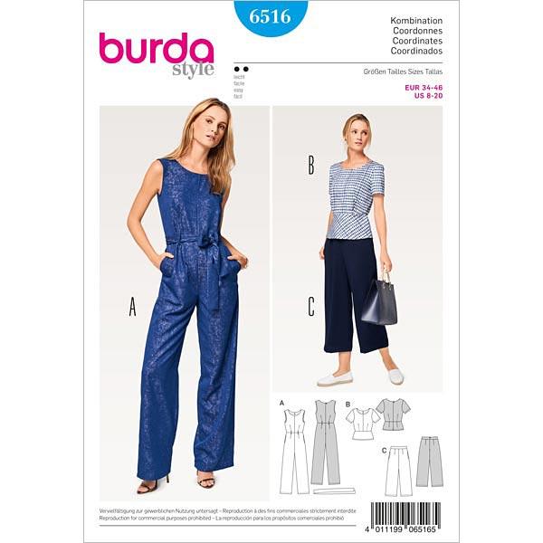Haalarit yläosa housut, Burda 6516