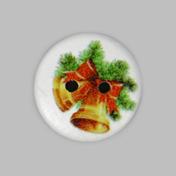 2-Loch-Holzknopf mit Weihnachtsmotiv
