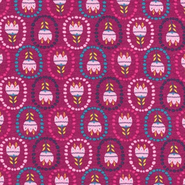 Fiori Hippie.Jersey Di Cotone Fiori Hippie Violetto Rosso Jersey Di Cotone