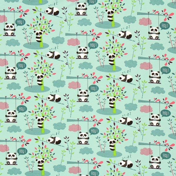 Tissu jersey panda vert