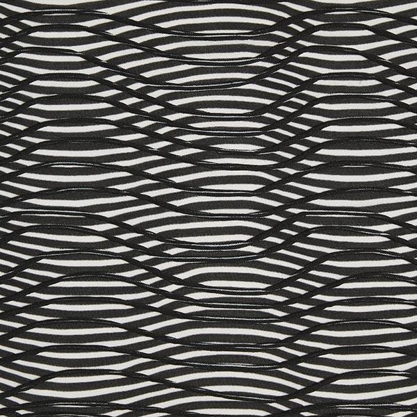 Jerseystoff Fanye Waves Halbtransparent Schwarz Weiss Muster