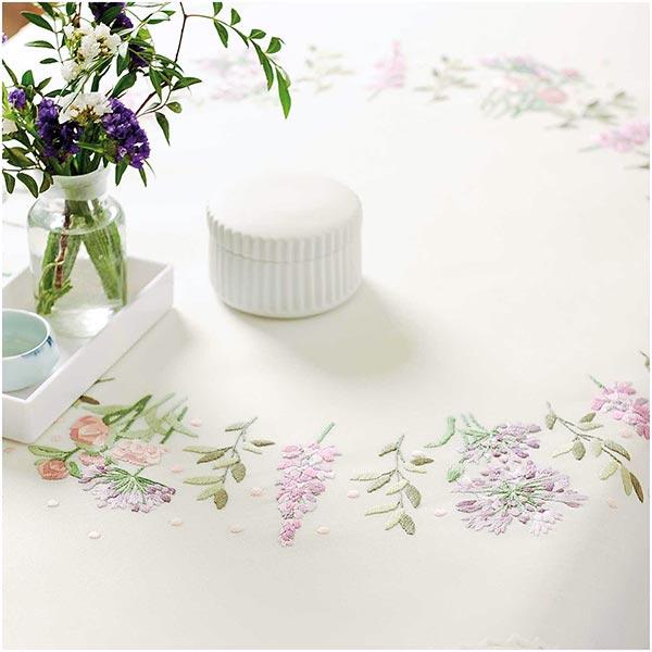 Kit Broderie Couronne de fleurs Nappe [90X90 cm]