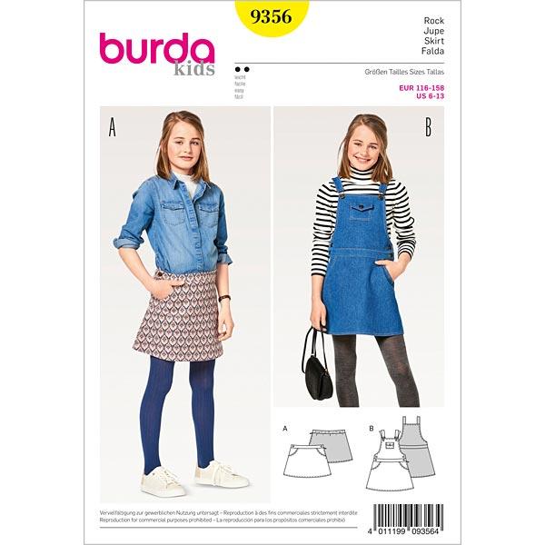 Nederdel til piger   Kjole med smæk, Burda 9356   116 158