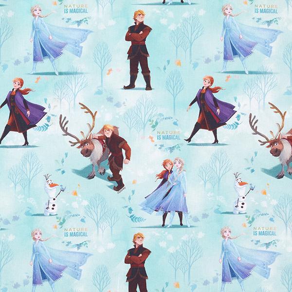 Popeline Coton Nature Est Disney La Reine Des Neiges 2 Bleu Aqua échantillon Popeline Tissus Net
