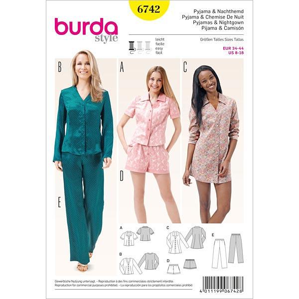 sale retailer 9bc8e 8b8b9 Pyjama / Nachthemd, Burda 6742