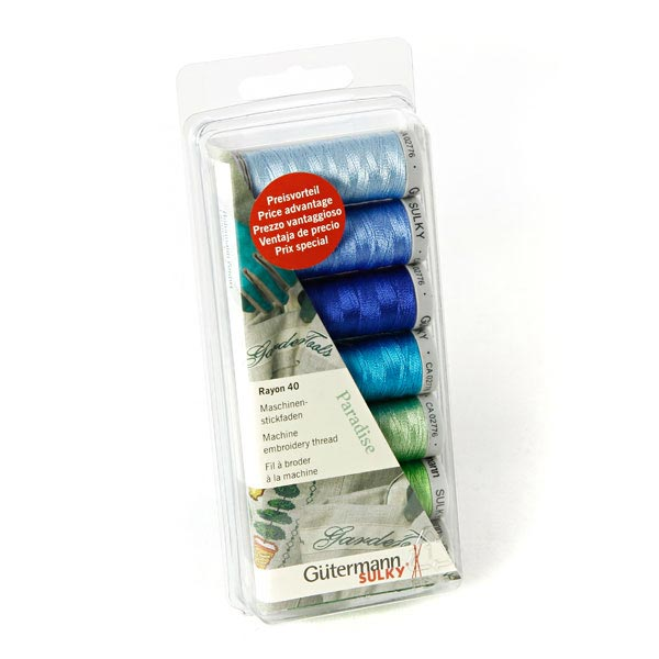 7 Colour Box Set Gutermann Sulky Rayon No.40 Machine Thread Set PARADISE