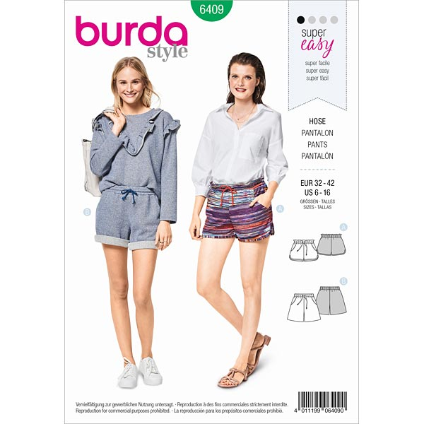 brand new 60ed5 64c61 shorts, Burda 6409 | 32 - 42