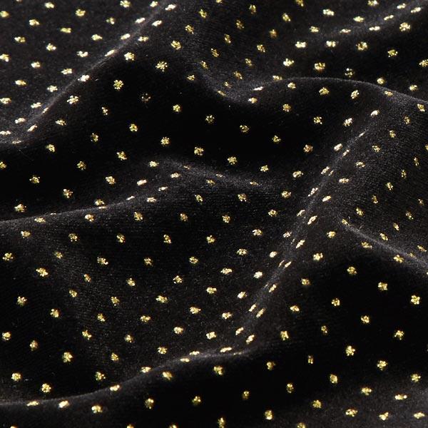 Stretch fløjl elegante glimmerprikker – sortguld