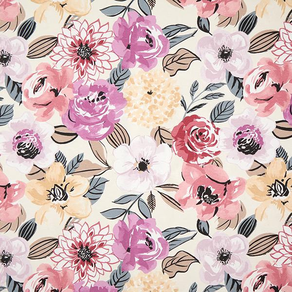 Fiori Acquerello.Tessuto Arredo Tessuti Canvas Grandi Fiori Acquerello Rosa Viola