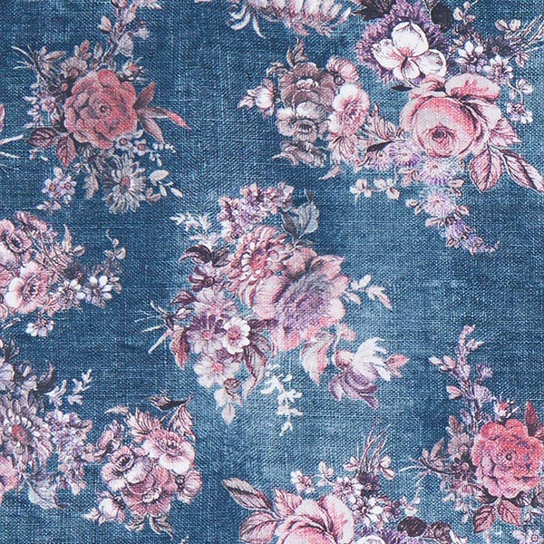 05287727a4 Tissu de maillot de bain Fleurs aspect lin – bleu jean - Restes de ...