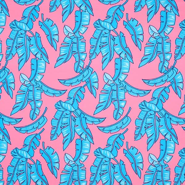733ab1a7ea Tissu pour maillot de bain At the Beach Feuille de palmier – rose/bleu
