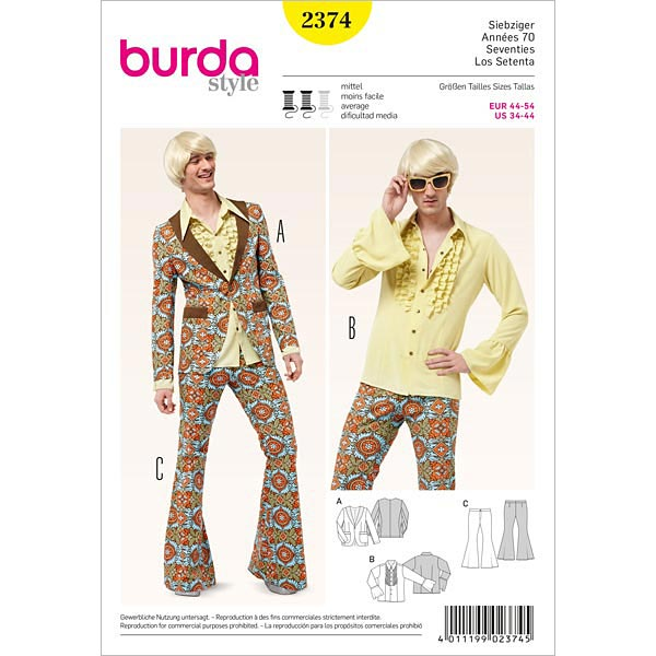 new concept 64122 dbe0b Vestito da festa anni '70 (uomo), Burda 2374