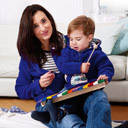 Nähpaket Fleecejacke Mama und Kind blau