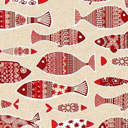 Dekostoff Natur – Fische und Ornamente 1