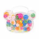 Maletín de osito con botones, 60 piezas