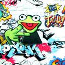 Tela Single jersey Rana tipo graffiti 1