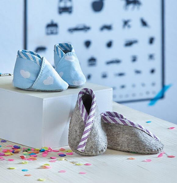hot sale online f0d05 857dd Babyschuhe nähen in 3 Schritten - kostenlose Nähanleitung ...