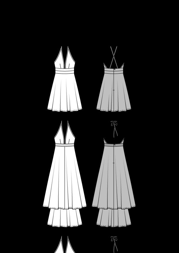 Kleid, Burda 6652 | 32 - 42 - Schnittmuster Kleid- stoffe.de