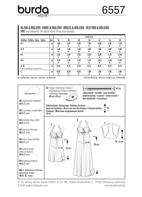 Umstandskleid | Brautkleid | Bolero, Burda 6557 | 34 - 46 ...