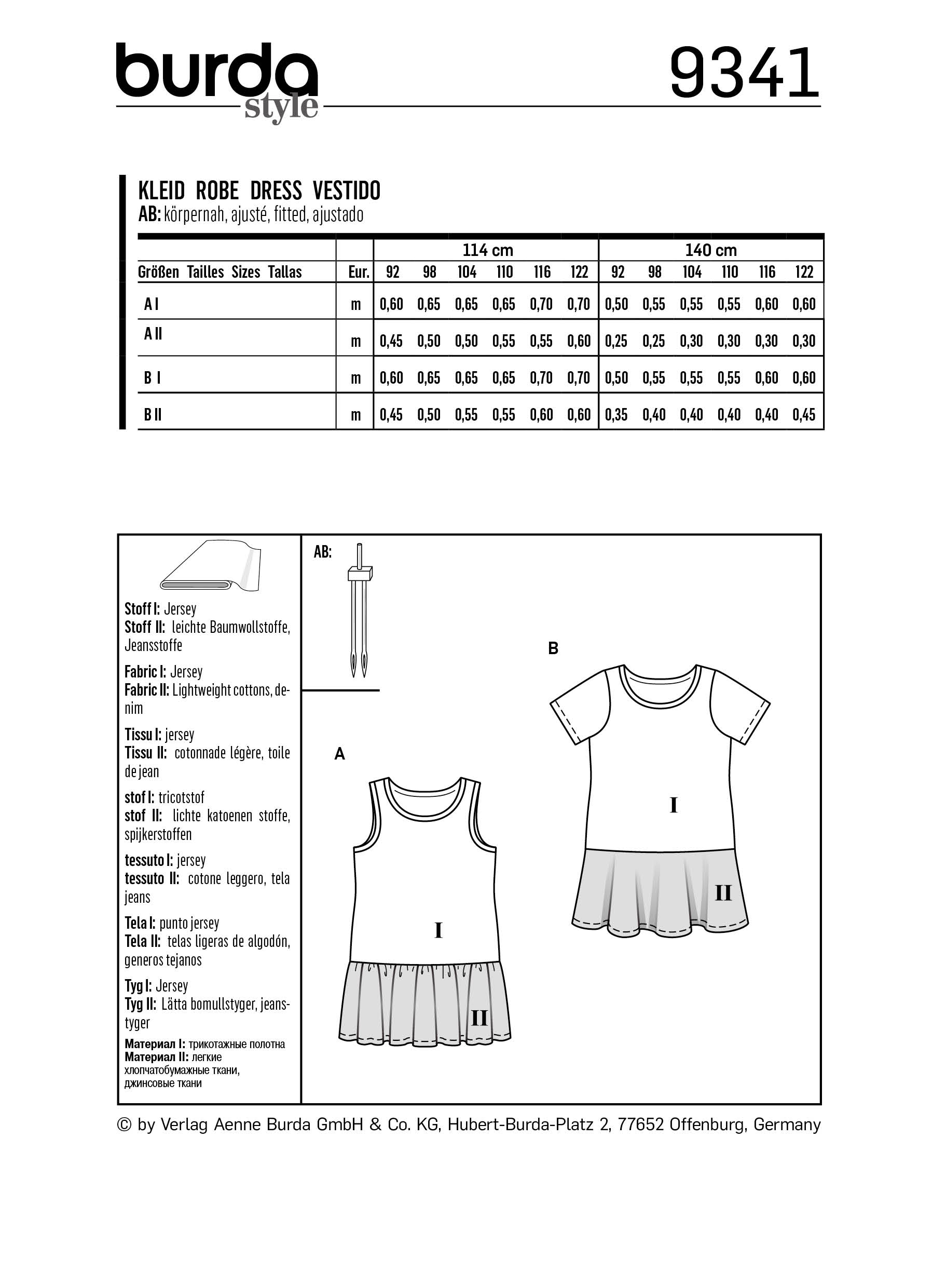 Girls\' dresses, Burda 9341 | 92 - 122 - baby-sewing ...